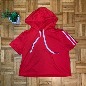 Hoody Short Sleeve Red Gym Athliesure